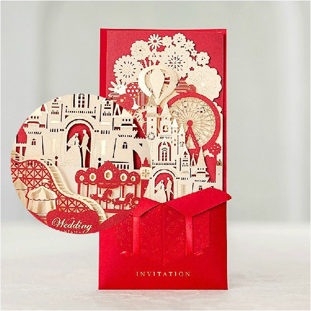 3d Wedding Invitations Red Laser Cut Castle Bridal Shower Invitation Card With Envelope Convites De Casamento