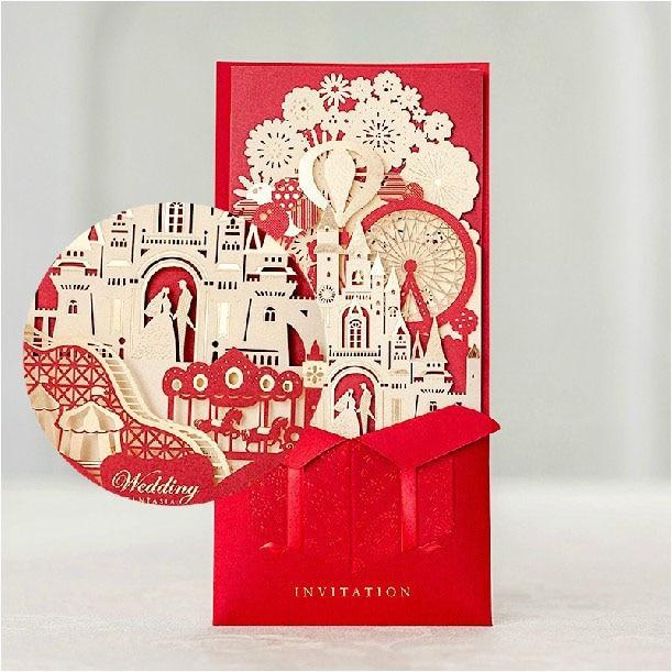 3d Wedding Invitations Red Laser Cut Castle Bridal Shower Invitation Card With Envelope Convites De Casamento