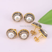New Style 10Pairs Fashion Gold Color Rhinestone with Pearl Stud Earrings Jewelry For Women(China)