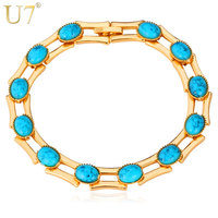 New 2013 Fashion Turquoise Bracelets For Women High Quality 18K Real Gold Plated Turkey Stone Bracelets