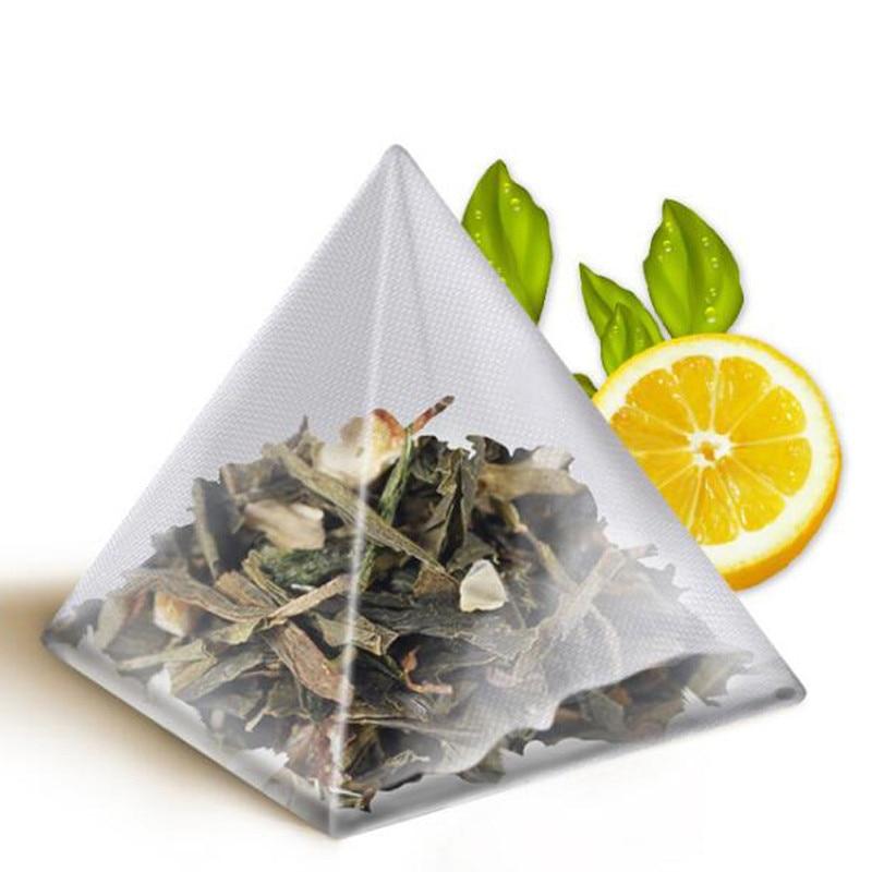 1000 pcs 5 5 7cm Pyramid Tea Bags Filters Nylon TeaBag Single String With Label Transparent