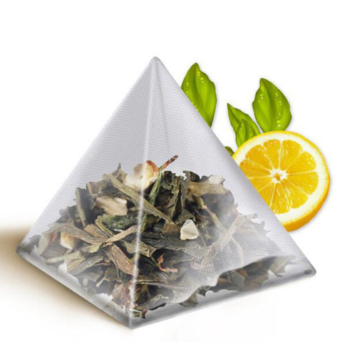1000 pcs  5.5*7cm Pyramid Tea Bags Filters Nylon TeaBag Single String With Label Transparent Empty Tea Bags Pakistan