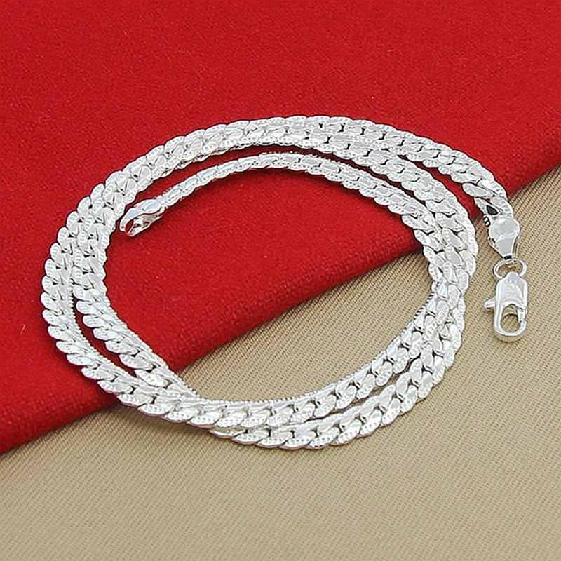 Cena hurtowa 6MM w całości bokiem naszyjnik dla kobiet mężczyzn 925 Sterling Silver biżuteria wąż łańcuch naszyjniki