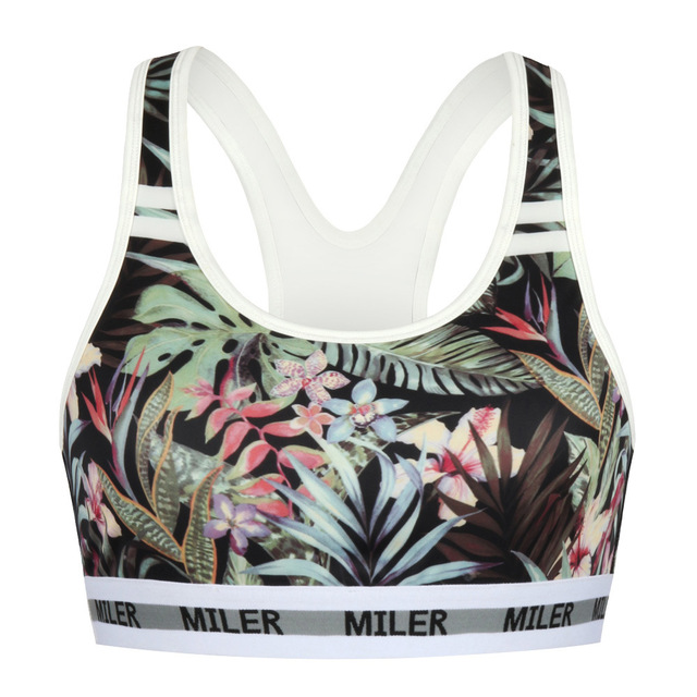 a044689002 2017 Green Leaves Flower Forest Print Sporty Bras Top Quality Yoga Bra  workout Women clothes for fitness sport outfits running