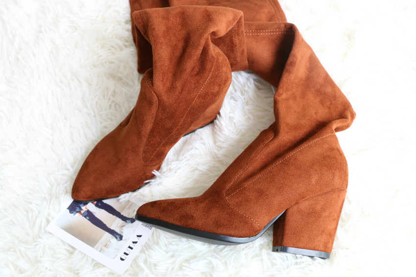 Women Hoof Heels Winter Shoes Pointed Toe Sexy Elastic Fabric Boots 42
