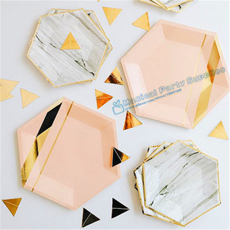 72pcs Hexagon Paper Plates Pastel Pink Marble u0026 Gold Foil Hexagon Small Party Paper Plates for Baby Shower Birthday Party Decor-in Disposable Party ... & 72pcs Hexagon Paper Plates Pastel Pink Marble u0026 Gold Foil Hexagon ...