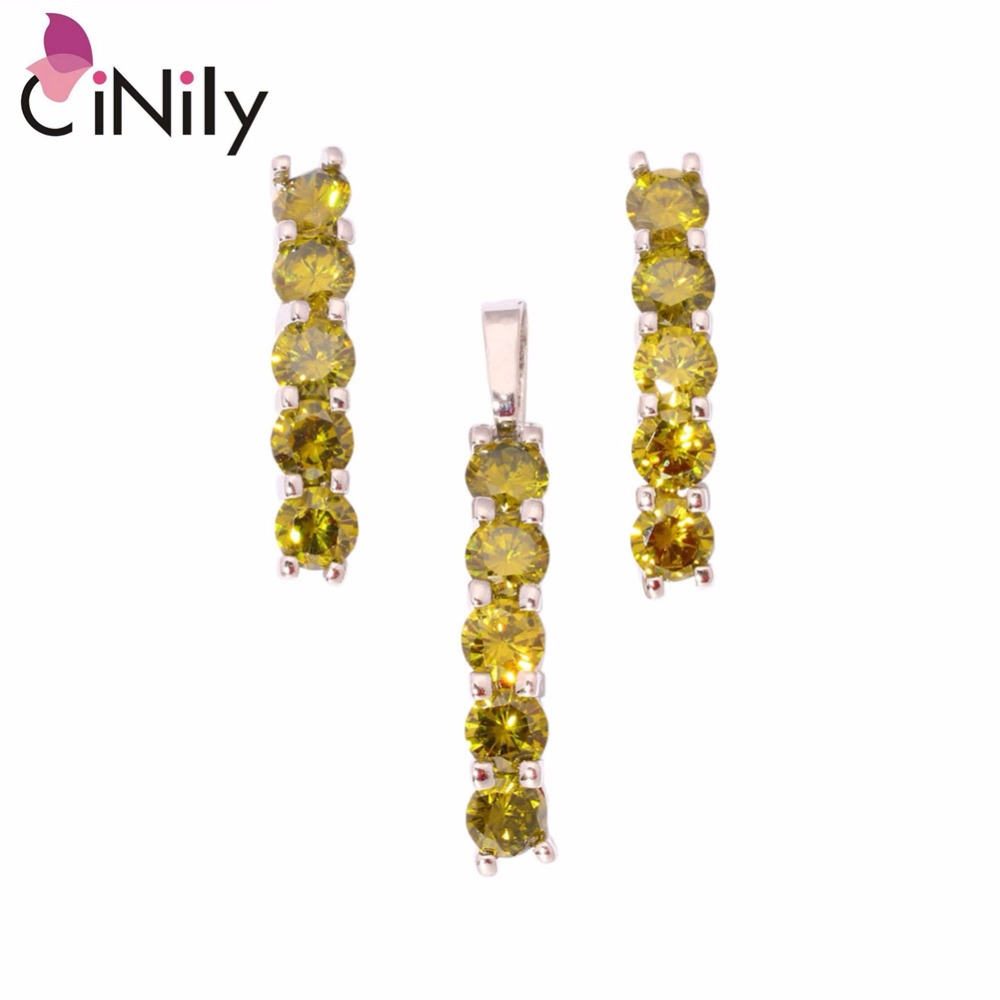 Cinily Peridot Garnet White Pink Zircon Silver Plated Wholesale Hot For  Women Jewelry Pendant Stud Earrings Jewelry Set Nt27982