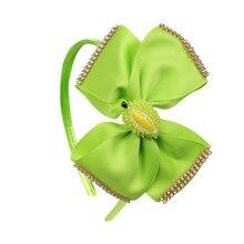 5 Fruit Style Big Bowknot Hairbands for Girls Lovely Grosgrain Ribbons Rhinestones Headband Party Kids Headwear