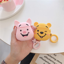 Cute Piglet Pig Winnie Pooh 3D Cartoon Earphone Case For Airpods 1/2 Cover Silicone Wireless Bluetooth Headset with Straps