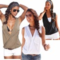Sexy Deep V Neck Women's Tank Top Pocket Design Solid Color Cotton Blend Wrap 2016 New Casual Loose Tops For Women Summer Tank