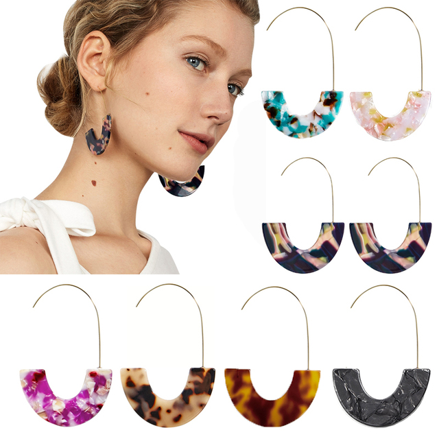 Leopard Grain Multi-Color Big Hook Acrylic Semicircle Drop Earrings