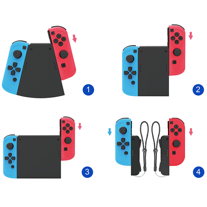 Portable Nintend Switch 4 In 1 Multi Grip Handle Bracket Support Holder Charger Joy-Con Plastic Black Controller  Accessories