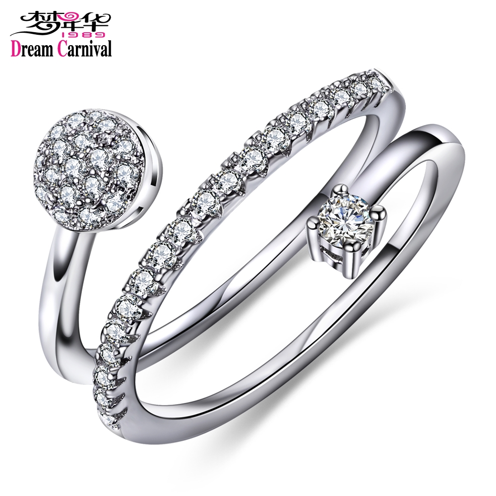 DreamCarnival 1989 Twisted Rolling Rings for Women Engagement Parties Wedding Open End Whirling Anel das mulheres anillos mujer