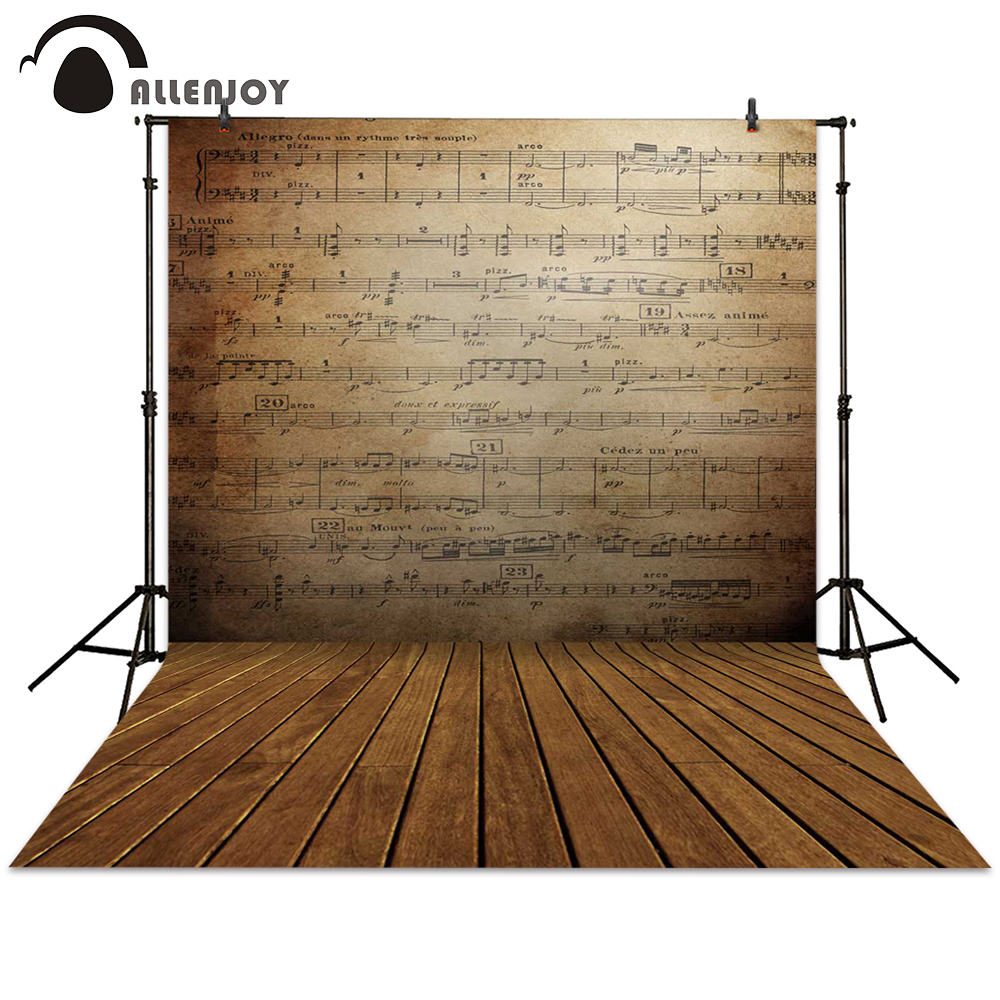 Allenjoy photography backdrop retro music staff wall wood brown background photocall photographic photo studio автомобильные телевизоры music staff dvd cmmb