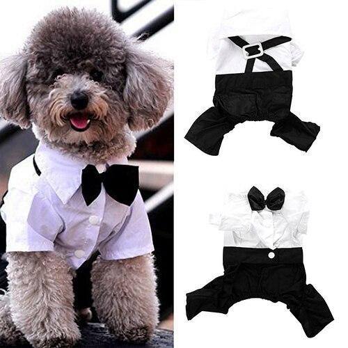 Pet Dog Cat Clothes Prince Tuxedo Bow Tie Suit Puppy Costume Jumpsuit Coat S-XXL 456fwr32