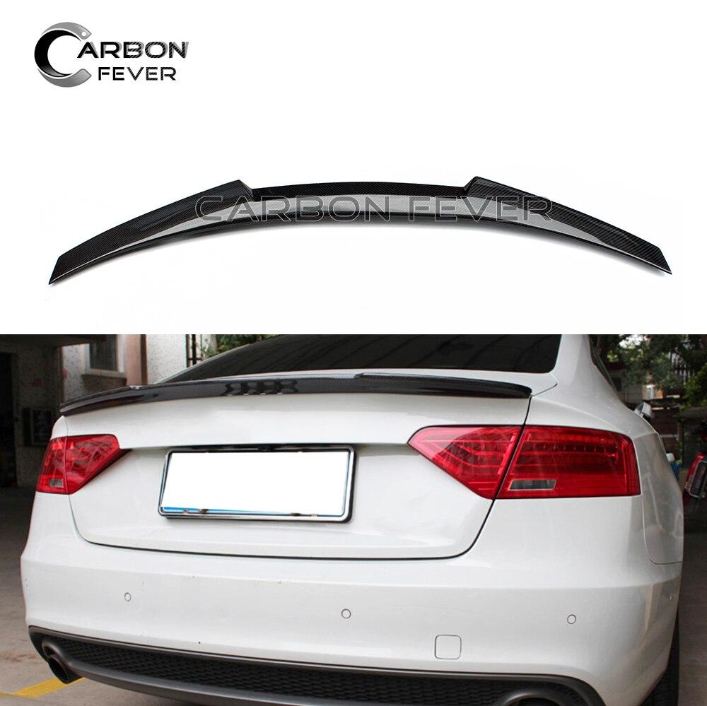 Для Audi A5 углеродного волокна задний спойлер крыло 2-двери купе 2009-2016 Задняя Крышка багажника