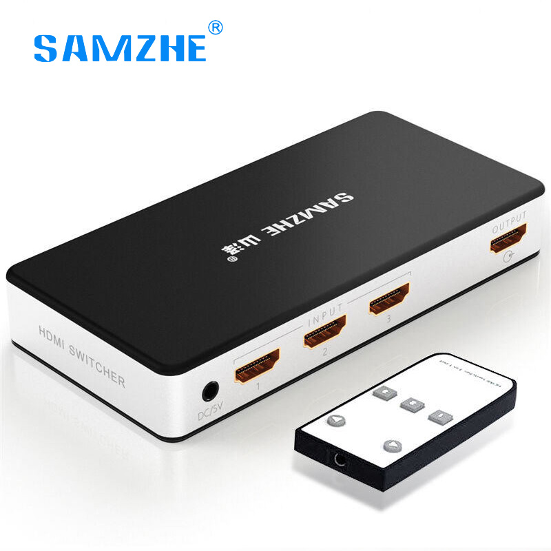 Samzhe HDMI Splitter 3 Ports input 1 port output HDMI Switch Switcher with remote for XBOX 360 PS3 PS4 Smart Android HDTV 4k