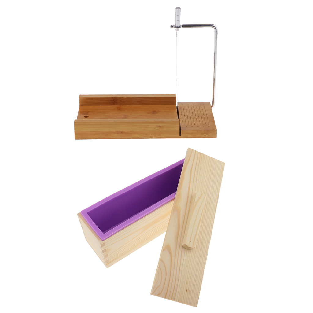Wooden Box, Silicone Soap Loaf Mold and Soap Cutter Wire Slicer, for DIY Soap/Cake/Chocolate Making ToolsWooden Box, Silicone Soap Loaf Mold and Soap Cutter Wire Slicer, for DIY Soap/Cake/Chocolate Making Tools