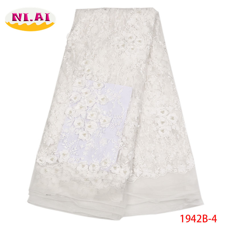 Tulle African Lace With Stones2018 Embroidered Net White Lace 3D Applique Fabric For Wedding Dress MR1942B