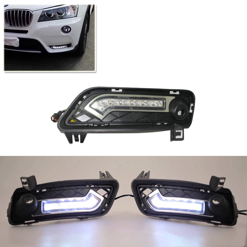 Brand New Set Led DRL Daytime Running Daylights For Bmw F25 X3 2010-2014 Front Driving Bumper Fog Lights Dimmable DRL Lamp brand new led daytime running lights for bmw e90 e91 3 series 2009 2012 m tech m high power front bumper fog daylights drl