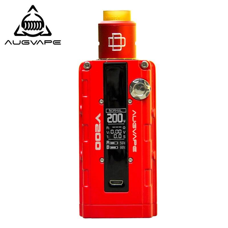 Augvape V200 200 Вт Механическая коробка Mod с druga RDA распылителя 22 мм умные электронные сигареты комплект испаритель светодио дный Дисплей красного ...