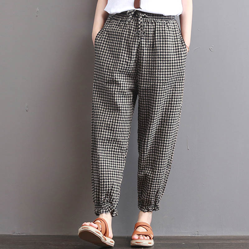 S-5XL 2019 Celima Women Plaid Check Elastic Waist Retro Cotton Linen Retro Turnip Harem Pants Pockets Loose Long Pencil Trousers