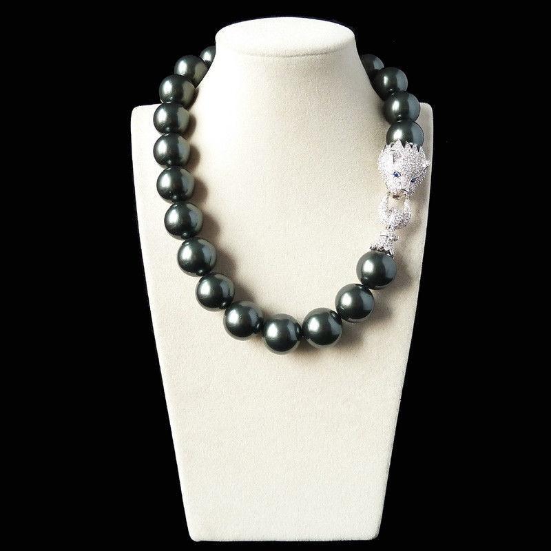FREE SHIPPING>>>@@ AS3414 18mm black green shell pearl inlay zircon leopard head LUXURY necklace цена и фото