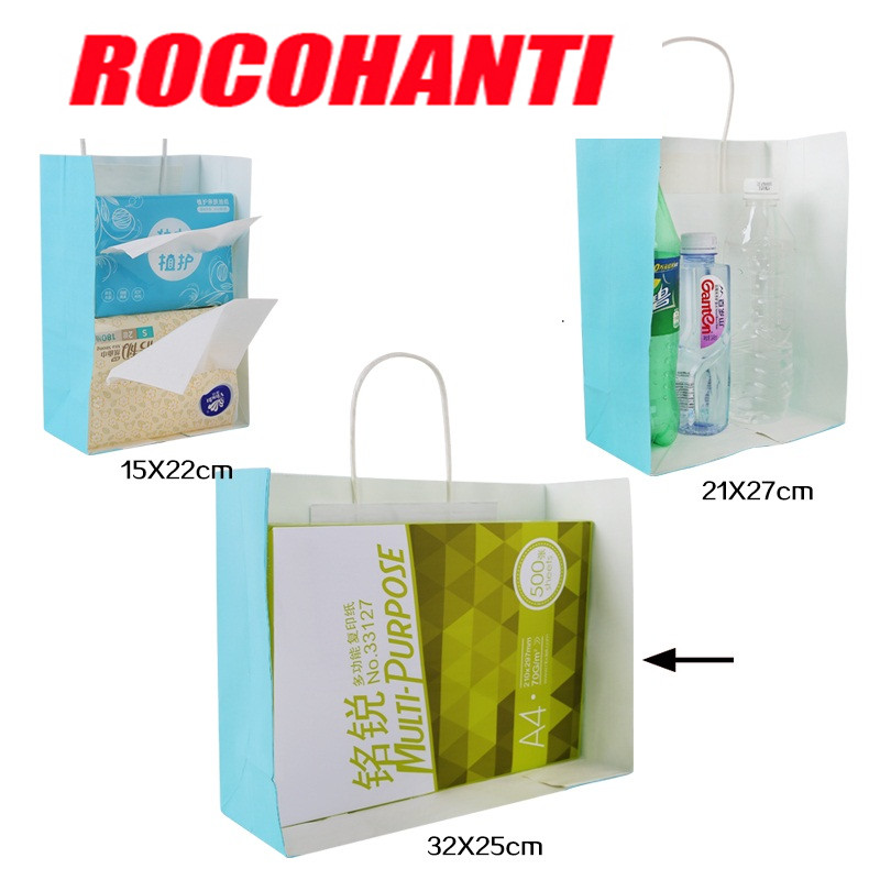 100X Recycled Custom Shopping Bag Gift Craft Paper Bags With Your Own Logo