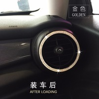 2pcs Crystal Car Styling Air Conditioning Vent Outlet Ring Cover Sticker Diamond Decorative For JCW Mini Cooper One F55 F56