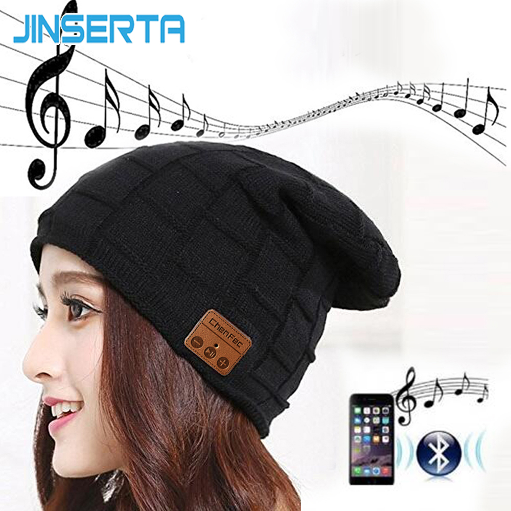 JINSERTA Wireless Bluetooth Headset Hat Knitted Bluetooth Cap Headphone Warm Winter Hats ...