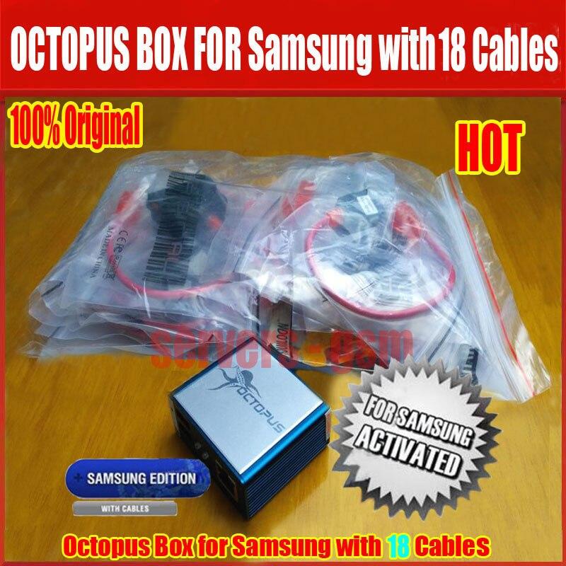 100% оригинал Octopus Box с 18 кабели для samsung/Unlock & Flash, и Ремонт IMEI/EFS мобильного телефона