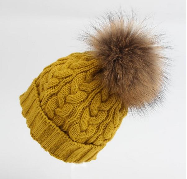 2017 NEW Autumn and winter brand knitting Warm wool real fur hat beanie skullie unisex accessories