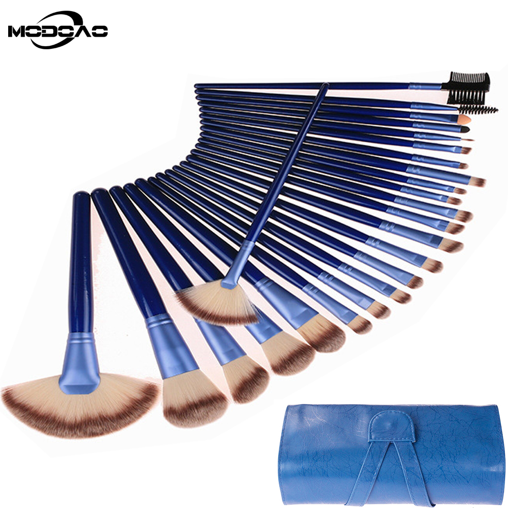 MODOAO Blue 24 Pcs Makeup Brush Set Makeup Soft Kit Make Up Brush Set Cosmetic Brush With Big Fans Shape Women Makeup Brush large soft cosmetic makeup brush