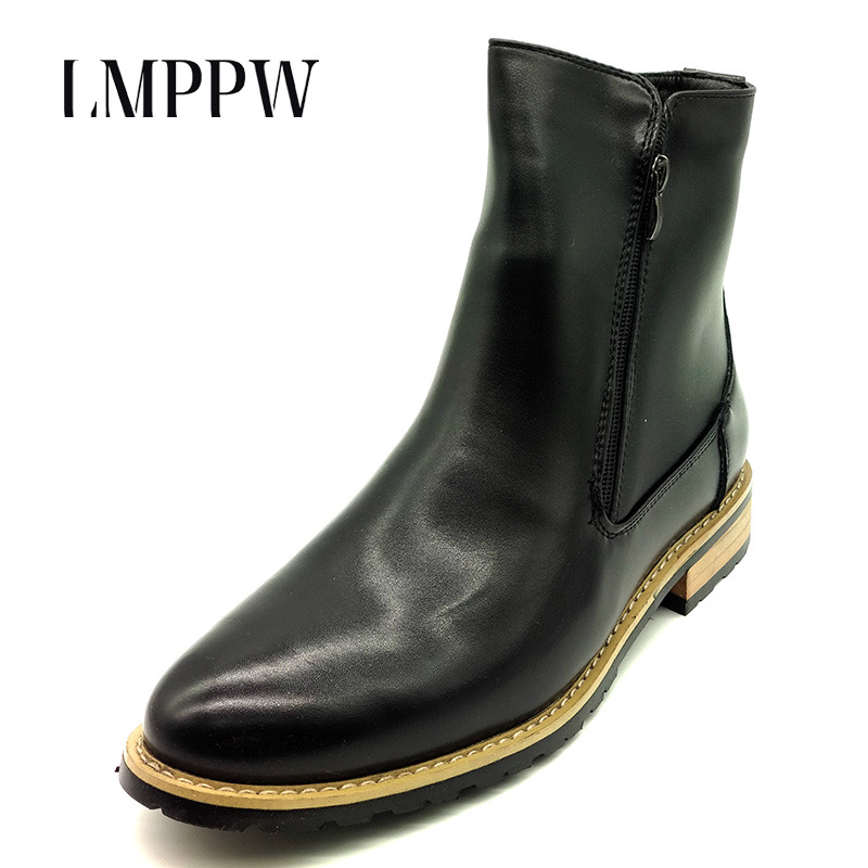 British Style Fashion Designer Chelsea Martin Boots Men Casual Shoes Genuine Leather Pointed Toe Zip Ankle Boots Black Yellow 2A printer heating unit fuser assy for fuji xerox phaser 3500 3600 fuser assembly on sale