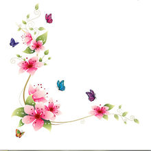 Flower Butterfly Wall Sticker 74*25xm DIY Wall Art Decal Decoration Wall Stickers Home Decor(China)