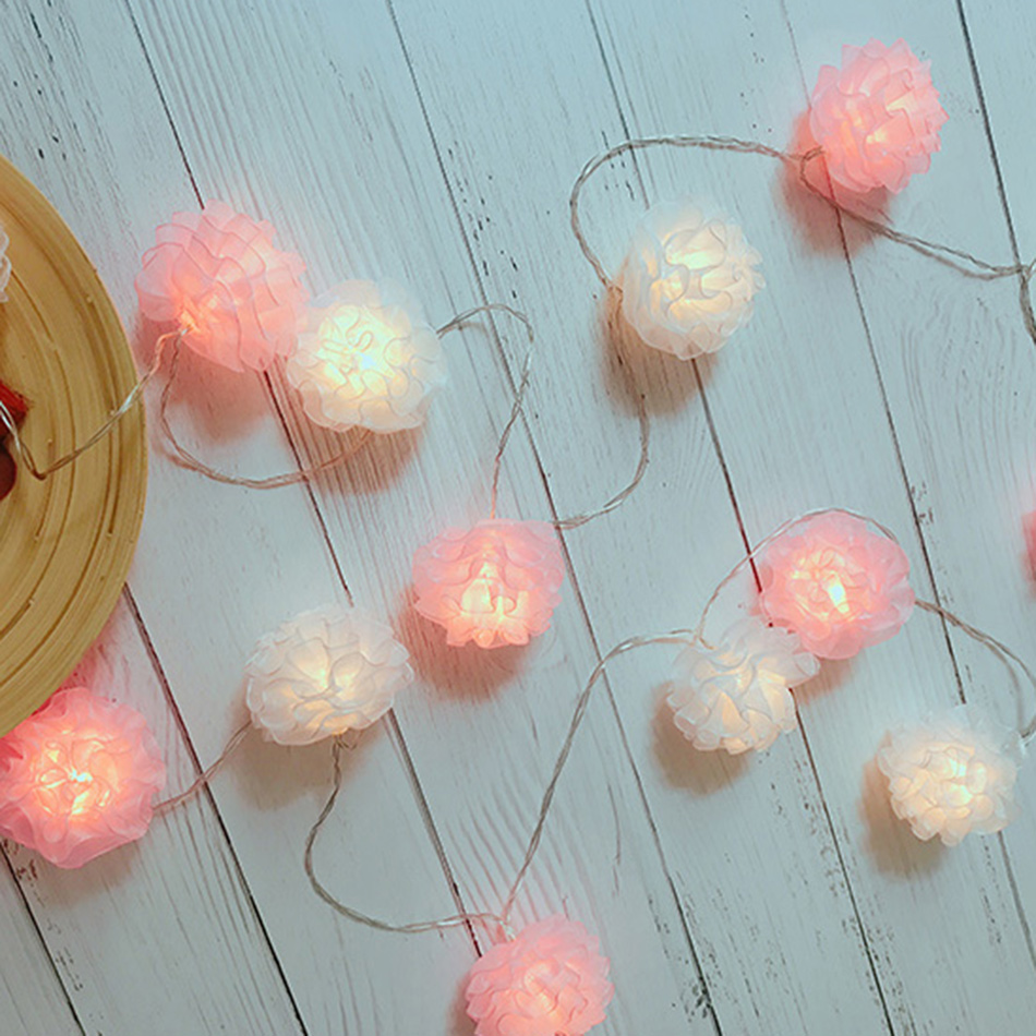 Unquie white and pink mixed snow Yarn flower led string light 3M 20 leds for Wedding Party/New Year Decoration,girls fairy light