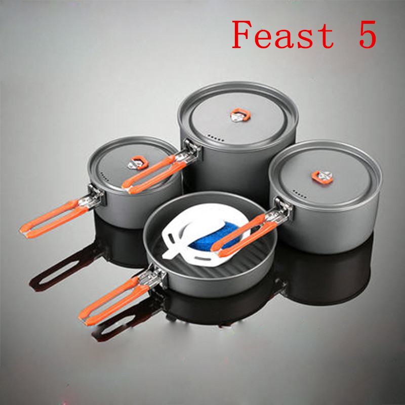 Fire Maple 4-5 Person Camping Cooking Set 3 Pot Frying Pan Team Outdoor Camping Hiking Picnic Cooking Cookware Sets Feast 5 fire maple fmc td3 camping titanium pot set ultralight 1 2 person outdoor picnic cooking cookware pot frying pan 174g
