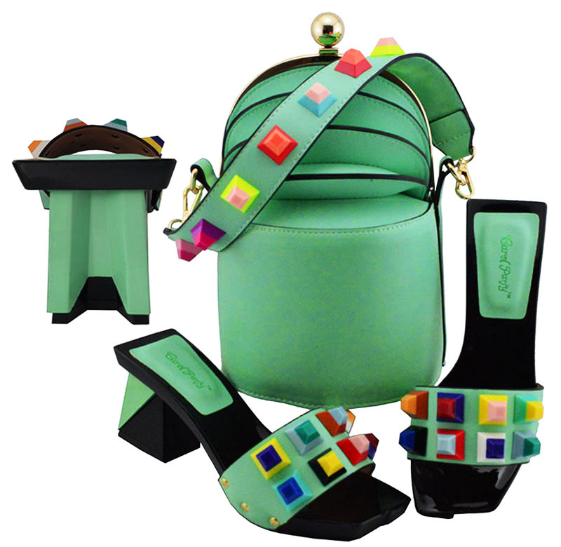 Newest Style Fashion Party Shoes and Bags To Match Mint Green African Shoe and Bag Set Italian Shoes and Bag Set with Appliques - 1