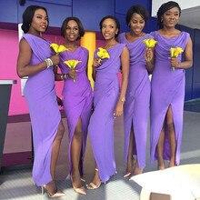 2015 Cheap Purple Long Bridesmaid Dresses V Neck Pleat Chiffon Mermaid Ankle-Length Robe Demoiselle D'honneur Bridesmaid Dress