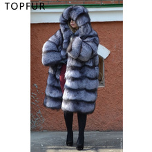 TOPFUR Luxurious fashion Winter Real Fox Fur Coat Women Natural Silver Jacket With Hood Thick Plus Size Long