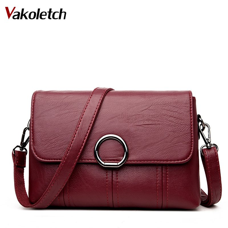 Women Bag Handbags Solid Leather Messenger Shoulder Bag High Quality Women Crossbody Bags Female Totes Handbags Bolsas KL201