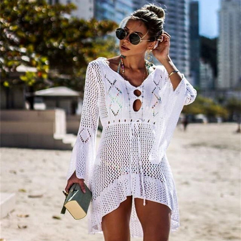 4f2a5373841f Summer Women Lace Crochet Swimsuit Bikini Cover Up Sexy beach wear swim  Long Dress pareo beach Bathing Suit tunic Sarongs Kaftan