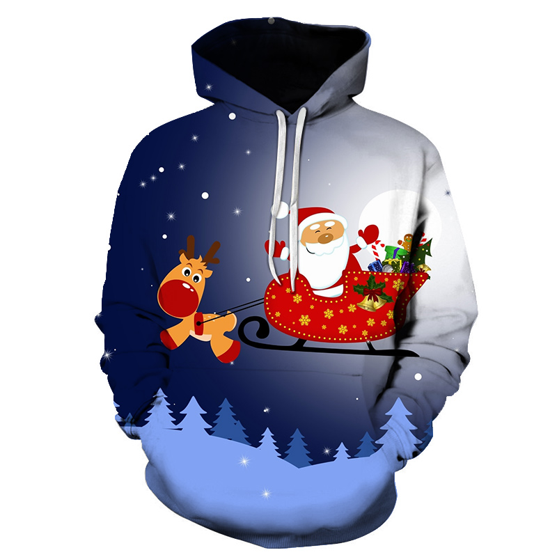 Hoodie Santa Claus Christmas Cookie snowman off white hoodie High quality New arrival Men 3D printing hoodies 2019