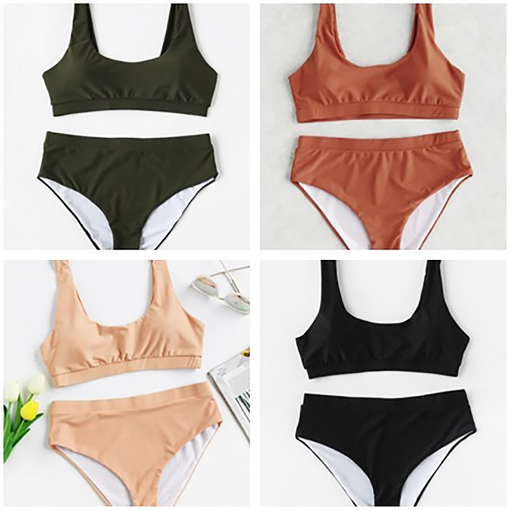 New Vintage Bikinis Women Swimwear 2018 Halter Push Up Bikini Set Retro Swimsuit Mid Waist Solid Color Bathing Suit Beach Wear new bikinis women swimsuit high waist bathing suit plus size swimwear push up bikini set vintage retro beach wear xxl 2017