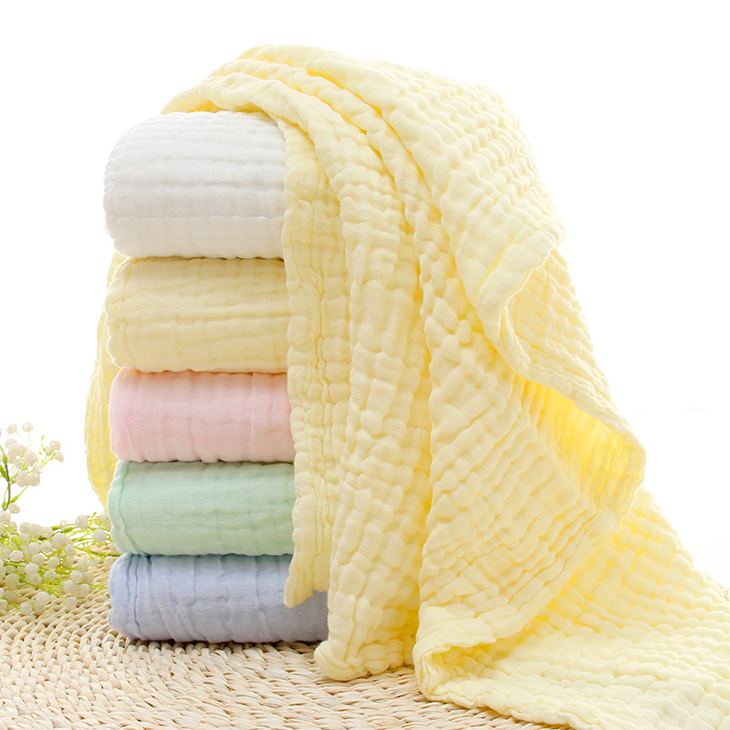 Baby Bath Towel 6 Layers Solid Color Muslin 100% Cotton Towels Neonatal Child Absorb Blanket Swaddle Wrap Bedding zhongguojie absorb bamboo fibre bath towel