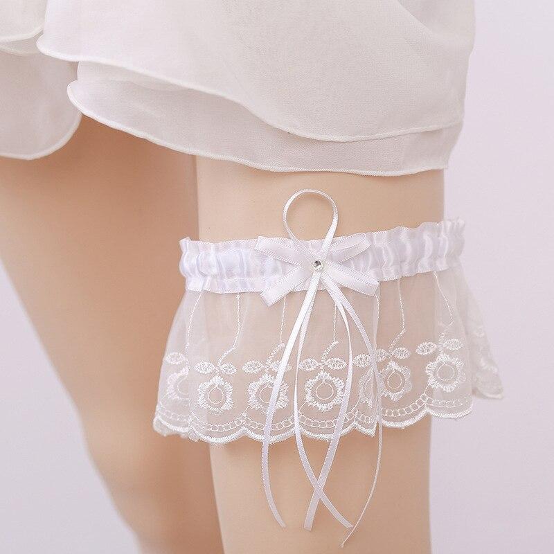 Embroidery Flower Wedding Garter Rhinestone White Bow Sexy