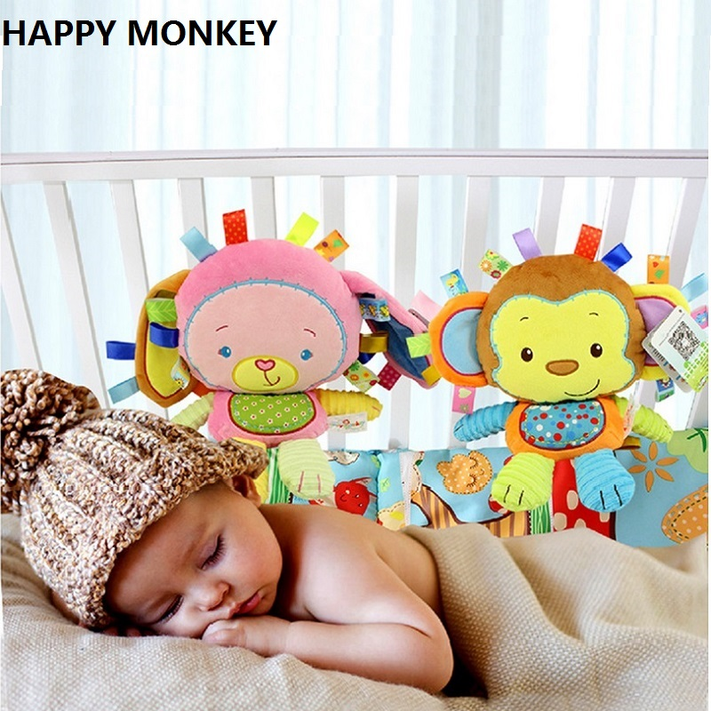 Happy Monkey Baby Rattle Soft Plush Toys Bibi Squeaker Inside Infant Calm Brinquedos Bed Bells Trolley /Crib Hanging Toy