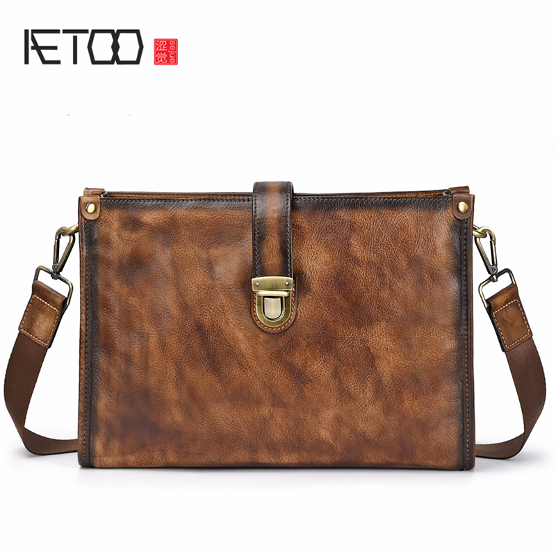 AETOO European and American style male bag leather postman Baotou layer cowhide man shoulder crossbody bagAETOO European and American style male bag leather postman Baotou layer cowhide man shoulder crossbody bag