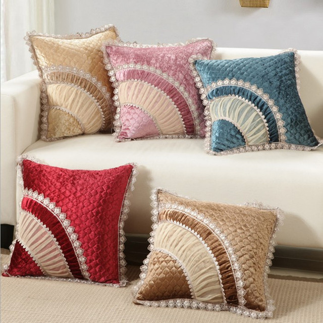 Luxurious Velvet Home Decor Cushion Velour With Lace Decortion Pillow /sofa  Cushions Decorative Throw Pillow