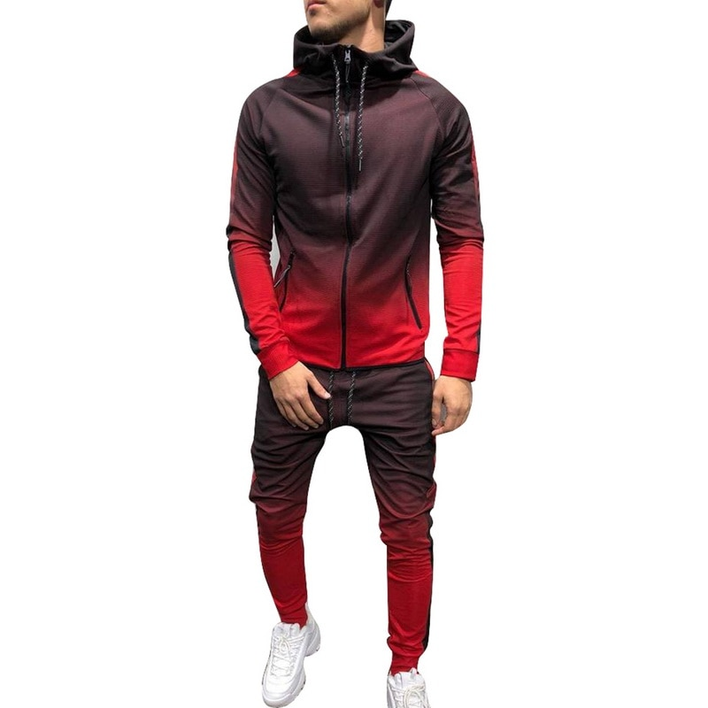 Puimentiua Zipper Tracksuit Men Set Sporting 2 Pieces Sweatsuit Men Clothes Printed Hooded Hoodies Jacket Pants Track Suits Male